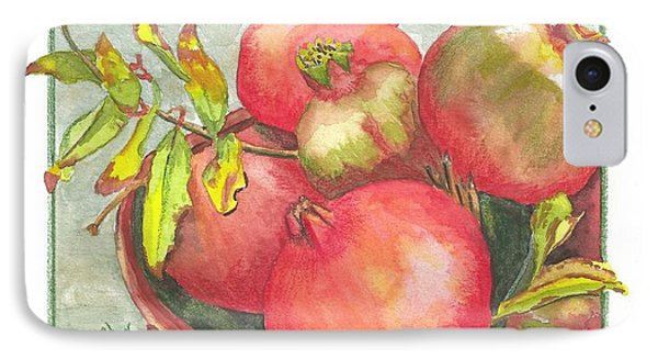 IPhone Case featuring the painting Bowl Of Pomegranates by Terry Taylor
