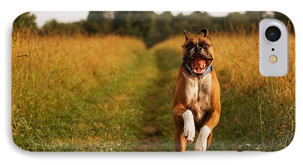 Boxer Dog Running Happily Through Field Phone Case by Stephanie McDowell