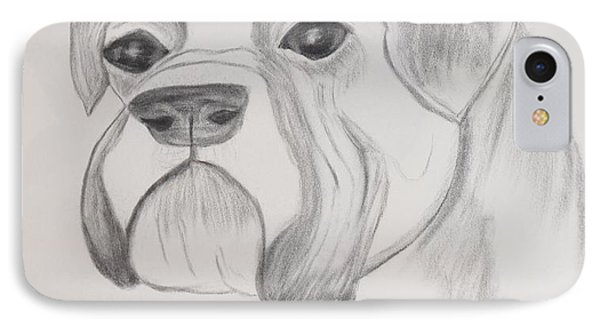 IPhone Case featuring the drawing Boxer No Crop by Maria Urso