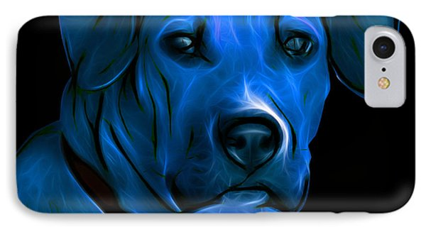Boxer Pitbull Mix Pop Art-blue Phone Case by James Ahn