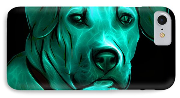 Boxer Pitbull Mix Pop Art - Cyan Phone Case by James Ahn