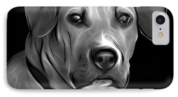 Boxer Pitbull Mix Pop Art - Greyscale Phone Case by James Ahn