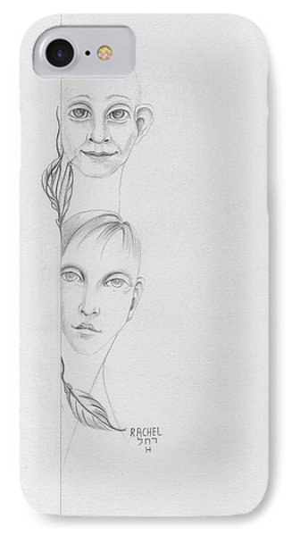 Boy And Girl Looking Over A Wall With Tree Leaves Large Eyes Straight Hair  IPhone Case by Rachel Hershkovitz
