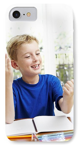 Boy Counting On His Fingers Phone Case by Ian Boddy