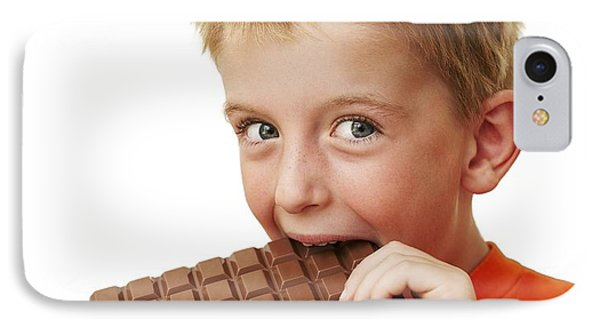 Boy Eating Chocolate IPhone Case by Ian Boddy
