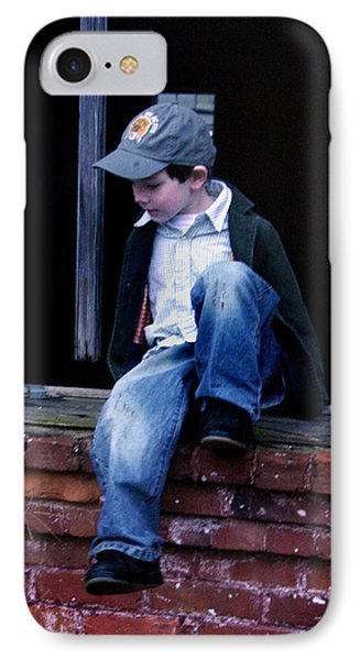 IPhone Case featuring the photograph Boy In Window by Kelly Hazel