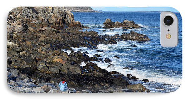 IPhone Case featuring the photograph Boy On Shore Rocky Coast Of Maine by Maureen E Ritter
