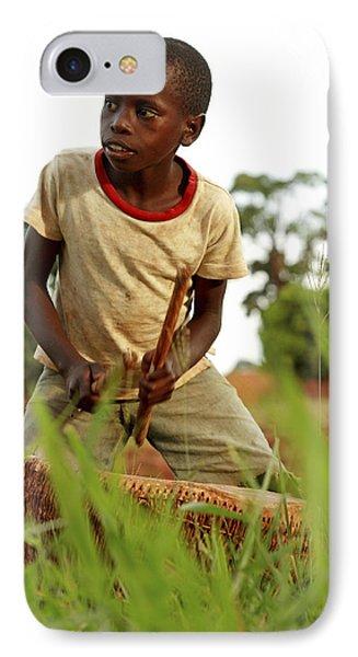 Boy Playing A Drum, Uganda Phone Case by Mauro Fermariello
