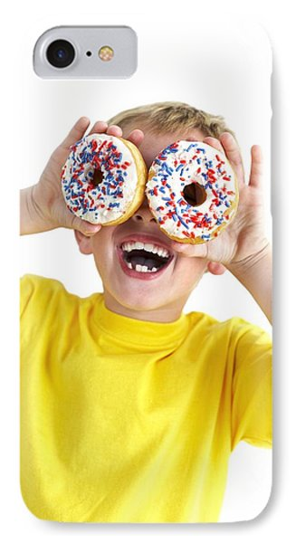 Boy Playing With Doughnuts Phone Case by Ian Boddy