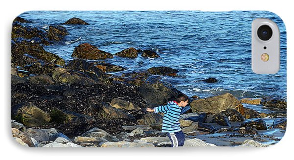 IPhone Case featuring the photograph Boy Throwing A Stone Maine Coast by Maureen E Ritter