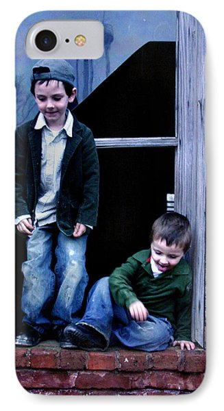 IPhone Case featuring the photograph Boys In A Window by Kelly Hazel