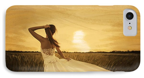 Bride In Yellow Field On Sunset  Phone Case by Setsiri Silapasuwanchai