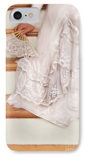 Bride Sitting On Stairs With Lace Fan Phone Case by Jill Battaglia