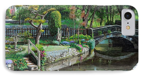 Bridge And Garden - Bakewell - Derbyshire IPhone Case by Trevor Neal