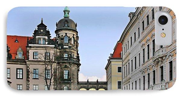 Bridge Over Taschenberg Street Dresden Phone Case by Christine Till