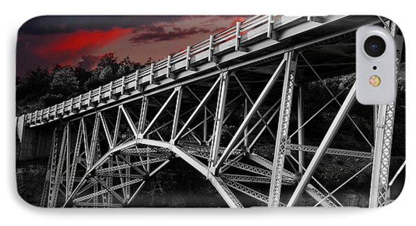 Bridge Under Blood Red Skies IPhone Case by Anthony Citro