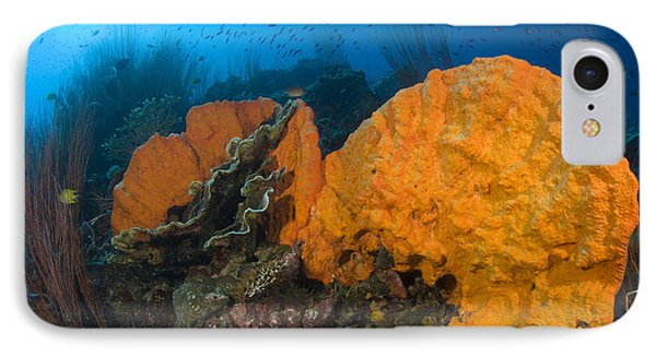 Bright Orange Sponge With Diver Phone Case by Steve Jones