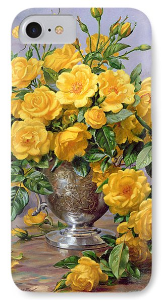 Bright Smile - Roses In A Silver Vase Phone Case by Albert Williams