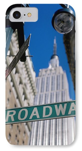Broadway Sign And Empire State Building Phone Case by Axiom Photographic