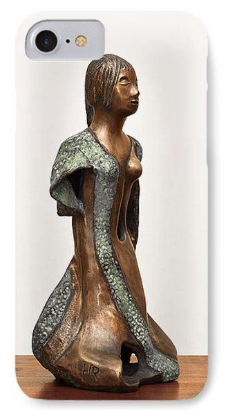 Bronze Hollow Lady In Gown Right View 2 Sculpture In Bronze And Copper Green Long Hair  Phone Case by Rachel Hershkovitz