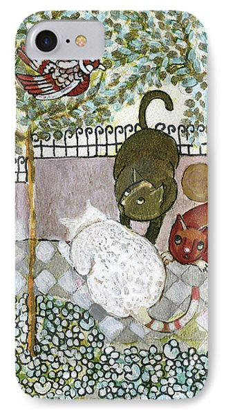 Brown And White Alley Cats Consider Catching A Bird In The Green Garden IPhone Case