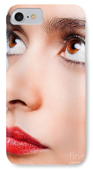 Brown Eyes And Red Lips Phone Case by Richard Thomas
