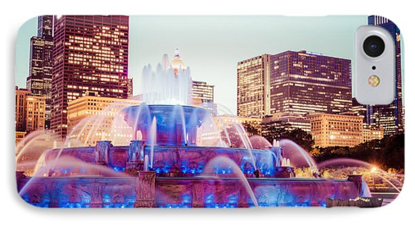Buckingham Fountain And Chicago Skyline At Night IPhone Case by Paul Velgos