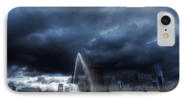 Buckingham Fountain Storm IPhone Case by Shawn Everhart