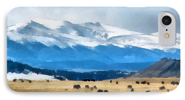 Buffalo Herd Painterly Phone Case by Ernie Echols