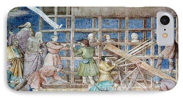 Building Noah's Ark, 14th Century Fresco Phone Case by Sheila Terry
