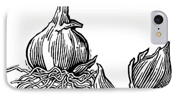 Bulbs Of Garlic, Woodcut Phone Case by Gary Hincks