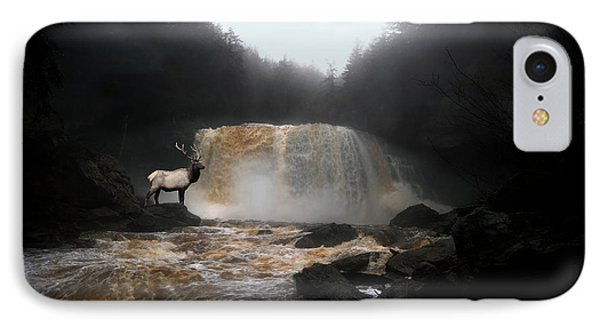 IPhone Case featuring the photograph Bull Elk In Front Of Waterfall by Dan Friend