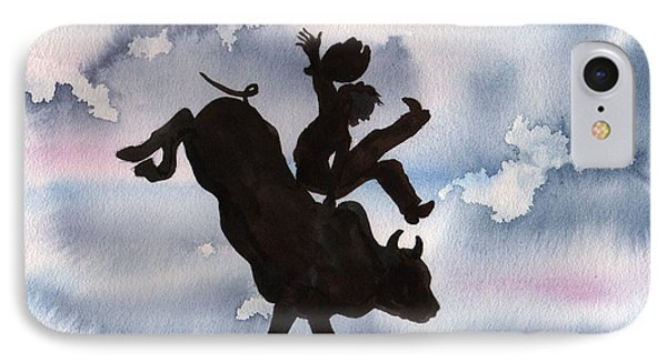 IPhone Case featuring the painting Bull Riding by Sharon Mick