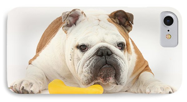 Bulldog With Plastic Chew Toy Phone Case by Mark Taylor