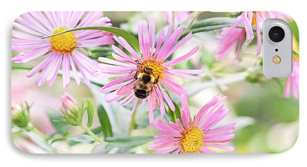 Bumble Bee On Asters Phone Case by Lena Auxier