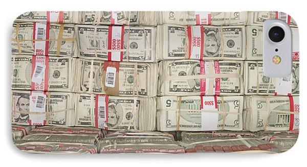 Bundles Of Five Dollar Bills Phone Case by Adam Crowley