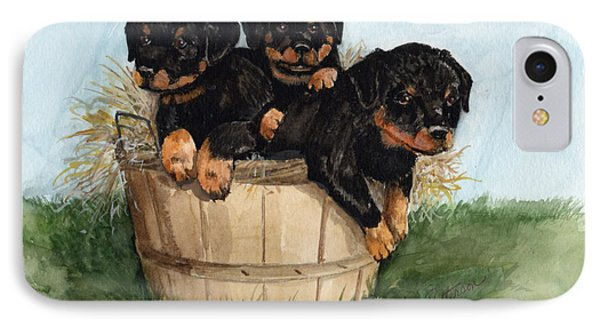 IPhone Case featuring the painting Bushel Of Rotty Pups  by Nancy Patterson
