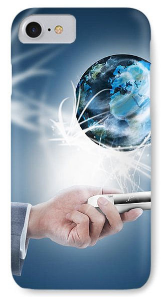 Businessman Holding Mobile Phone With Globe IPhone Case by Setsiri Silapasuwanchai