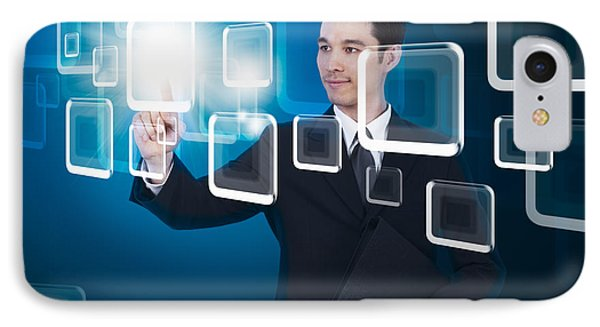 Businessman Pressing Touchscreen IPhone Case by Setsiri Silapasuwanchai