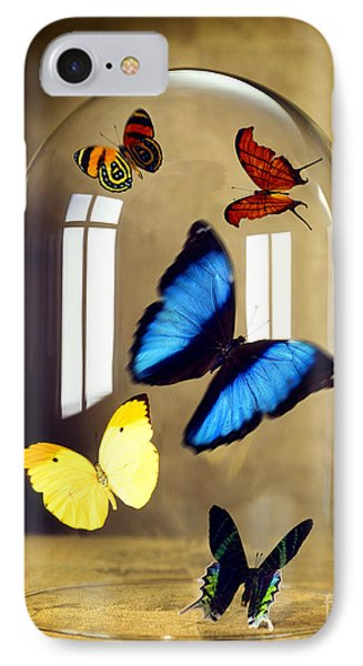 Butterflies Under Glass Dome Phone Case by Tony Cordoza