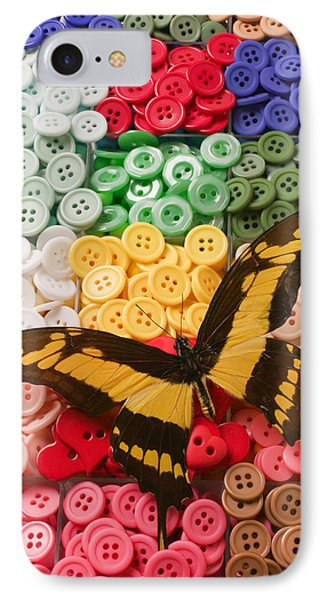 Butterfly And Buttons Phone Case by Garry Gay