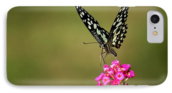 IPhone Case featuring the digital art Butterfly On Pink Flower  by Ramabhadran Thirupattur
