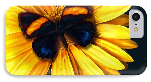 Butterfly On Yellow Phone Case by Virginia Palomeque