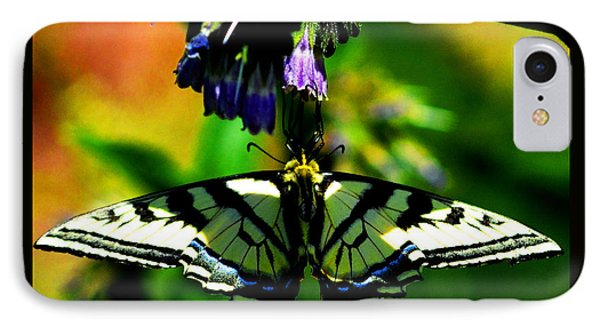 IPhone Case featuring the photograph Butterfly Upside Down On Comfrey Flowers by Susanne Still