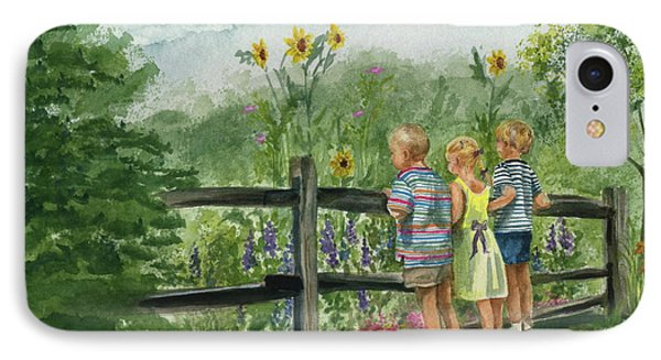 IPhone Case featuring the painting By The Garden Fence  by Nancy Patterson