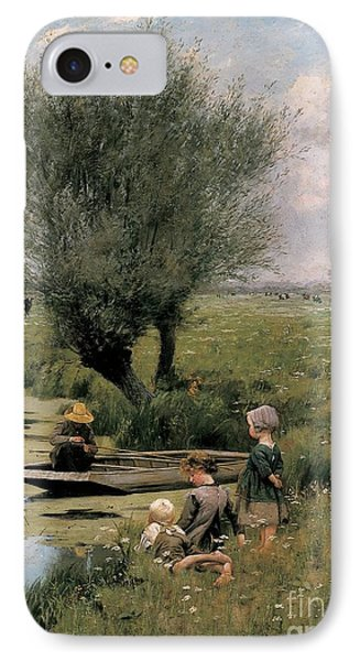 By The Riverside IPhone Case by Emile Claus