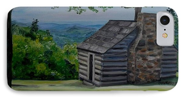 IPhone Case featuring the painting Cabin On The Blue Ridge Parkway In Va by Julie Brugh Riffey