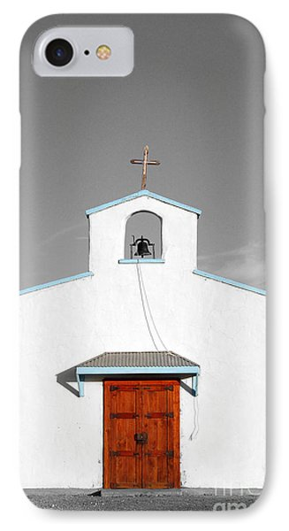 Calera Mission Chapel Facade In West Texas Color Splash Black And White Phone Case by Shawn O'Brien