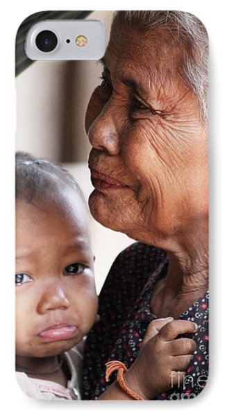 IPhone Case featuring the photograph Cambodian Grandmother And Baby #1 by Nola Lee Kelsey