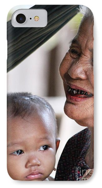 IPhone Case featuring the photograph Cambodian Grandmother And Baby #2 by Nola Lee Kelsey